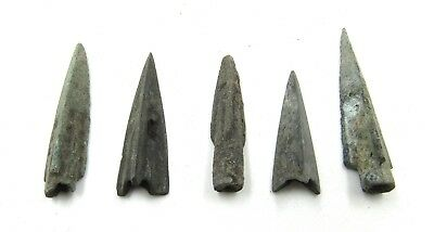 Authentic Lot Of 5 Ancient Scythian Bronze Arrow Heads - G985
