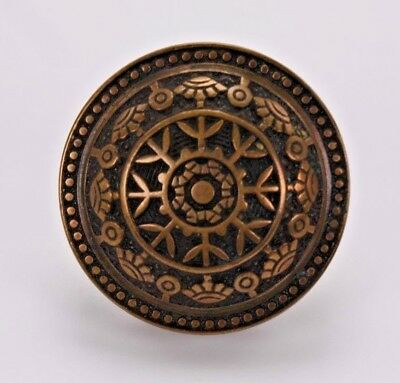 """Aesthetic Cast Brass Door Knob Antique Vtg East Lake Style 2.25""""  Round Salvage"""