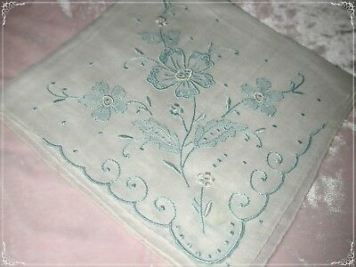 ANTIQUE Swiss Cotton Hand Embroidered Handkerchief, Blue Embroidery No. 52