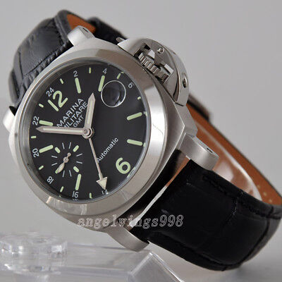 40mm seagull GMT black dial luminous parnis polished bezel date automatic watch