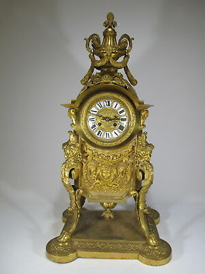 19th C French AD MOUGIN gilt bronze clock # D9135