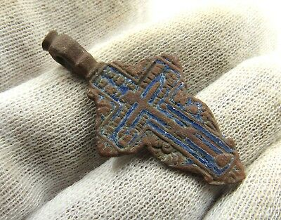 Authentic Late Medieval Bronze Cross Pendant - Wearable - G997
