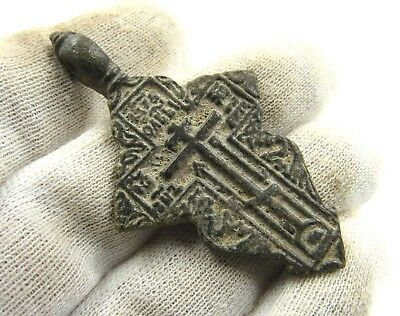 Authentic Late Medieval Bronze Cross Pendant - Wearable - G998