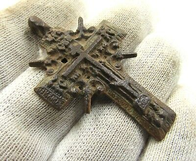 Authentic Late Medieval Bronze Radiate Cross Pendant - Wearable - H2