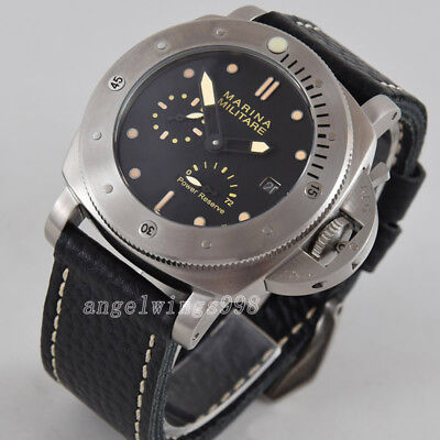 47mm black dial power reserve seagull date automatic Parnis watch military lumen
