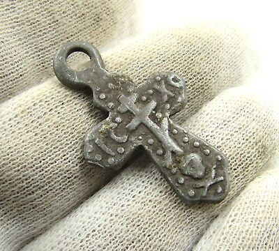 Authentic Late Medieval Silver Cross Pendant - Wearable - H4