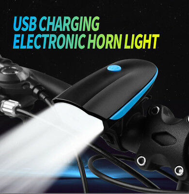 USB Rechargeable LED Bike Bicycle Front Headlight and Rear Tail Light Set + Horn