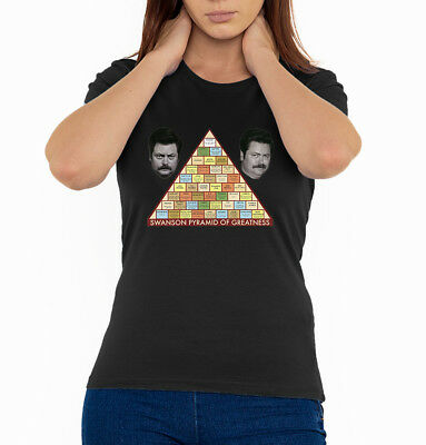 Ron Swanson Pyramid Of Greatness Woman's T Shirt Black (Sizes S-2XL)