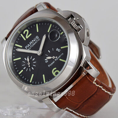 Parnis 44mm black dial seagull Power reserve polished case date automatc watch