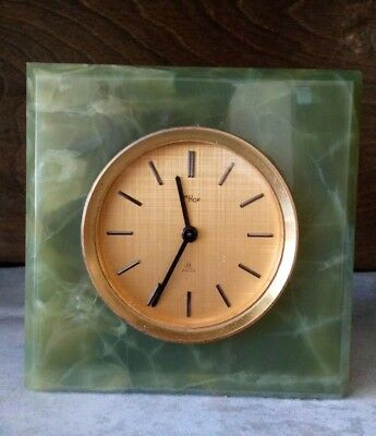 vintage imhof Onyx mantel clock 8 day timepiece good condition