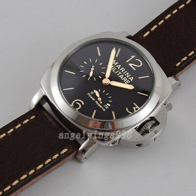 47mm parnis Power reserve seagull date automatc military watch lumen black dial