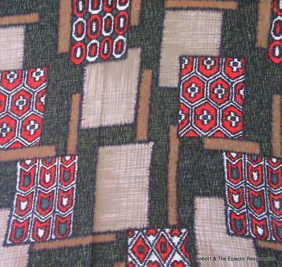 "Antique 1920s Fabric Textured Rayon Arts & Crafts Mod Geometric 29"" wide 6 Yards"