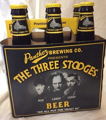 3 Stooges Beer Bottles From Late 1990s - Panther Beverage