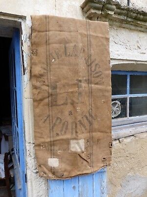 Antique 1850s French linen /Hessian bag  Flour bag Grain sack/Feed sack /Flour s