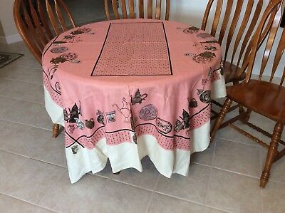 Vintage Hardy Craft Early American Pure Linen Tablecloth, 60 X 80