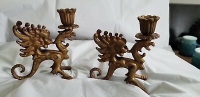 Pr Art Deco Bronze Coated Cast Iron DRAGON GRIFFIN Candle Holders ~ Gothic
