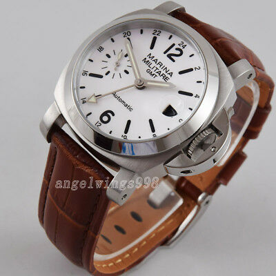 40mm seagull GMT white dial luminous parnis polished bezel date automatic watch