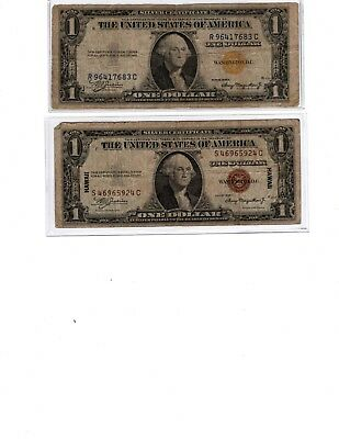 1935 A Series $1.00 Silver Certificates  North Africa & Hawaii 2 Note Lot