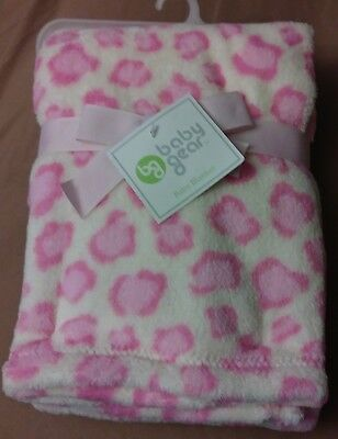Baby Gear Cream and Pink Animal Cheetah Leopard Print Baby Girl Blanket