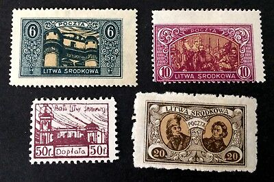 Central Lithuania - 4 interesting unused stamps 1921 - Srodkowa Litwa