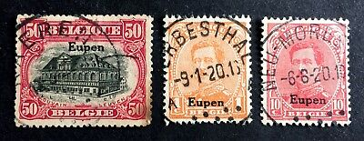 Eupen - Belgian occupation areas 1920 - 3 nice canceled stamps