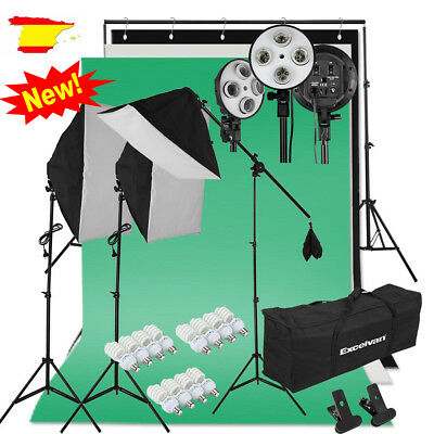 HOT Iluminación Estudio de Fotografia Softbox kit +3 Fundos Soporte+45w LED2000W