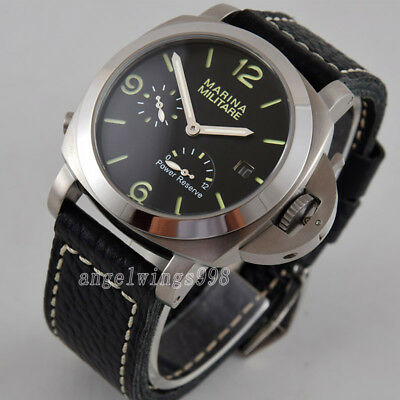 Parnis 44mm seagull Power reserve polished bezel date automatc watch green marks