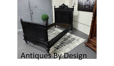 Circa 1880 Victorian Eebonized & Carved Twin Size Head ~ Foot Board Bed Frame