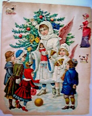 Large 1800's Christmas Die Cut w/ Stunning Angels Handing Out Toys to Children *