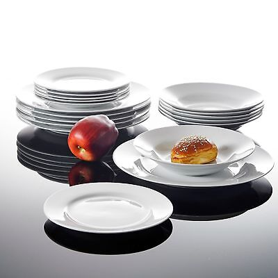 18pc Round Dinner Set Porcelain China Crockery Dining Service for 6 Plates Bowls
