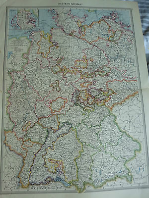 1900/1908 antique map WESTERN GERMANY  Harmsworth Universal