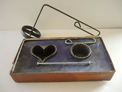 Vintage Alfred Andresen & Co Cast Iron Rosette Irons Boxed Set & Wafer Iron