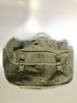 Vintage WWII 2 WW2 Era US Army 1944 Canvas Green Musette Bag Pack