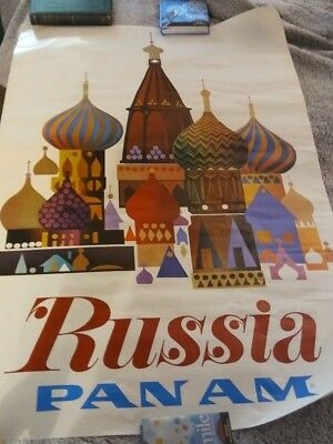 Vintage Travel Poster, Pan-Am - Russia, Poster 1960's Original