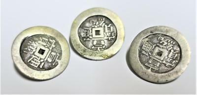 Antique / Vintage 3 Chinese /Japanese Silver /Silver Plated BUTTONS China /Japan