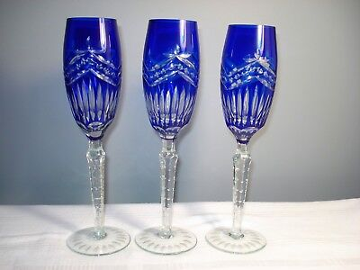 "3 Cased Crystal Cobalt Blue Cut to Clear Champagne Flute Glasses 10-1/2"" AJKA"