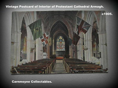 Rare Vintage Postcard of Interior of Protestant Cathedral Armagh. c 1905.AH3087.