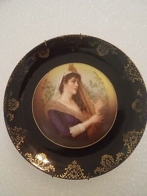 "Rosenthal Painted Lady Portrait 8 3/4"" Plate with Dark Blue & Gilded"