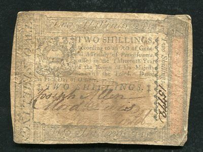 PA-164 OCTOBER 1, 1773 2s TWO SHILLINGS PENNSYLVANIA COLONIAL CURRENCY NOTE