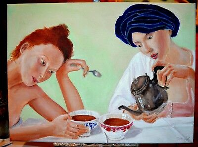 Art Original oil painting - Tea and Sympathy by Gary Haigh
