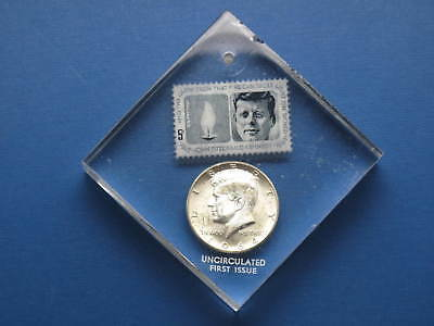 1964D Kennedy 90% Silver Half Dollar & JFK Stamp in Lucite Paperweight Holder