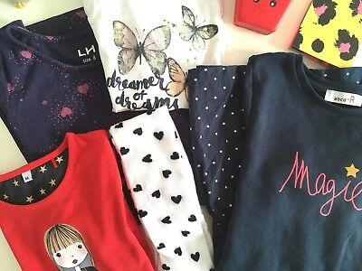 Bundle Of Girl Clothes Tops Dresses Tights Size 7-8 Years