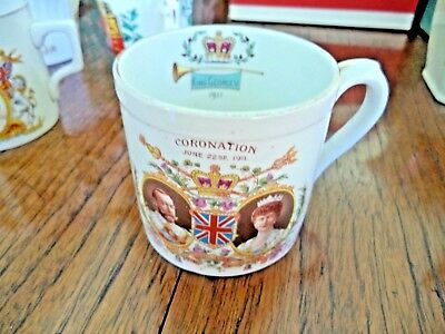 Shelley Souvenir cup commemorating coronation Queen Mary King George V, 1911