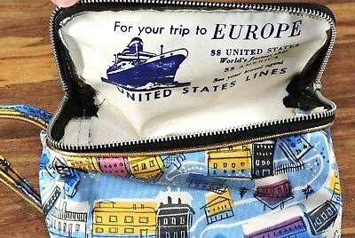 Vintage US Lines SS America SS United States Souvenir Advertising Toiletry Bag