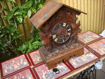 ANTIQUE Black Forest Fusee Cuckoo Mantle Clock For Restoration or Spare / Repair