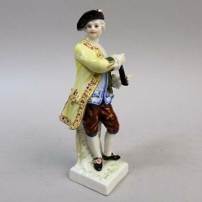 Antique Kpm Berlin Porcelain Pipe Player Figurine C.1880