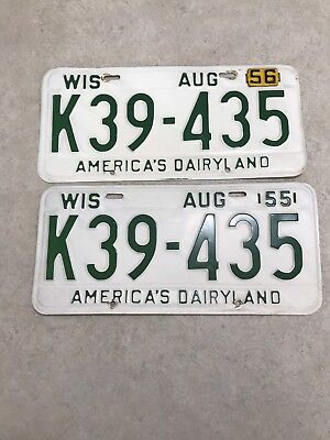 Pair of Vintage 1955 Wisconsin License Plates with one (1) 1956 Tag