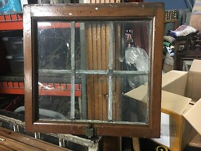"c1900 leaded glass transom window vintage sash frame 22.5"" x 22"" x 1.75"""