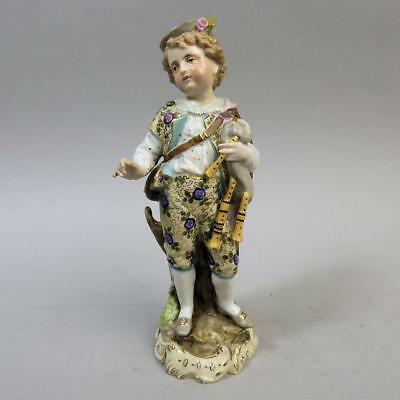 Antique Rudolstadt Volkstedt German Porcelain Pipe Player Figure C.1880