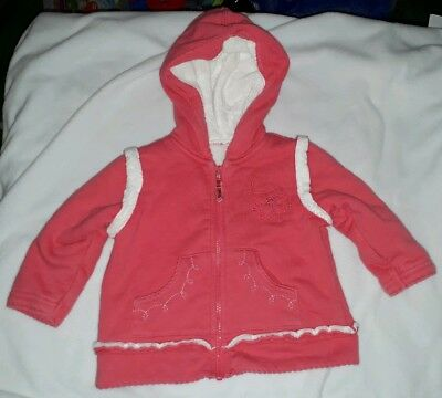 Girls pink hooded jacket, 3-6 months, M&S